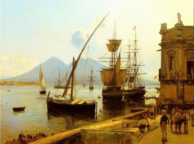 Lafurbaelosciocco_Rudolf_von_Alt_-_Porto_di_Napoli,_Immacolatella